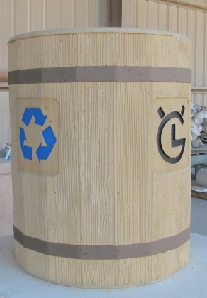 Precast Woodgrained Recycle Receptacle - City of Carlsbad