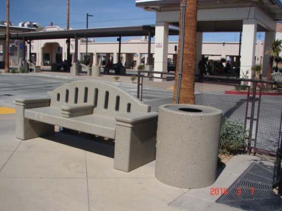Precast Bench with Arm Rest and Trash Receptacle