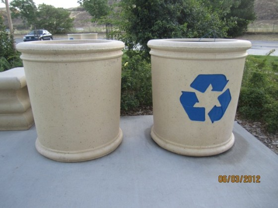 Trash Receptacle & Recycle Receptacle - Camp Robert Rest Stop Area, CA