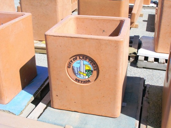 Precast Square Trash Receptacle with Cast in Logo