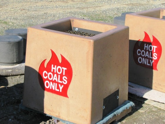 Precast Logo Hot Coals Receptacle