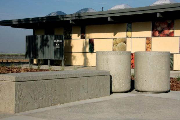 Precast Seatwall & Receptacles - Philip S. Raine Rest Stop Area - Tipton, CA