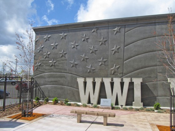 American Flag Image Concrete Wall Panels with Precast Letters represent major American wars