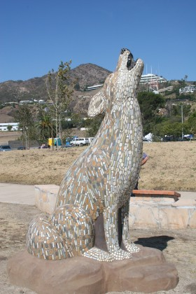 Precast Coyote with Mosaic Tiles