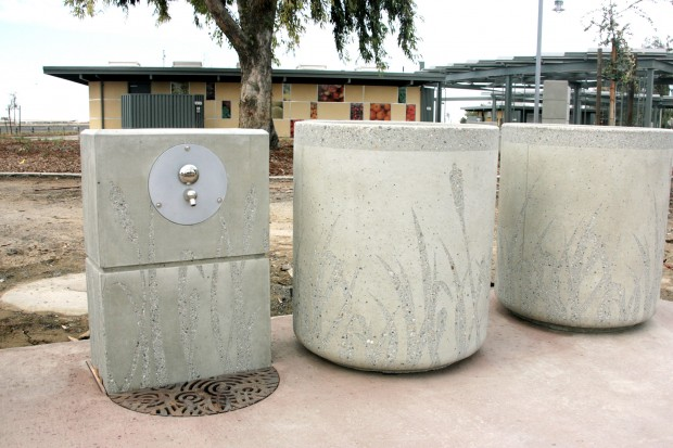 Precast Water Faucet, Recycle & Receptacles with Sandblasted Tule Graphic