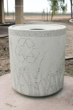 Recycle Receptacle with Sandblasted Tule Graphic