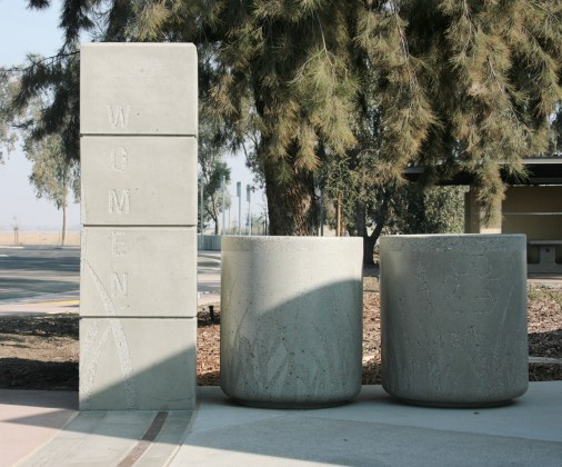 Precast Sign, Recycle and Receptacle with Stencil Sandblast