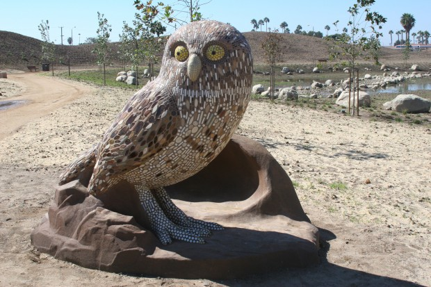 Precast Burrowing Owl with Mosaic Tiles