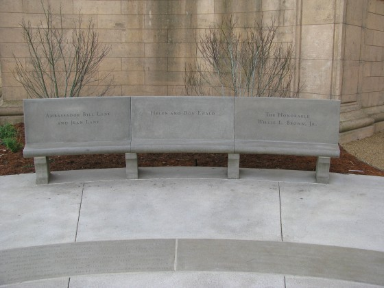 Precast Custom Radius Bench with Cast-in Letters in Back