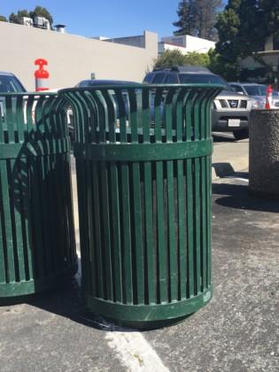 Used Metal Waste Receptacle